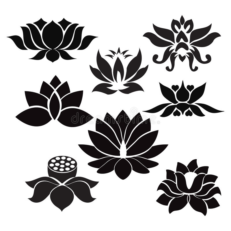 tatouage de fleurs de lotus illustration sur le fond blanc illustration de vecteur. Black Bedroom Furniture Sets. Home Design Ideas