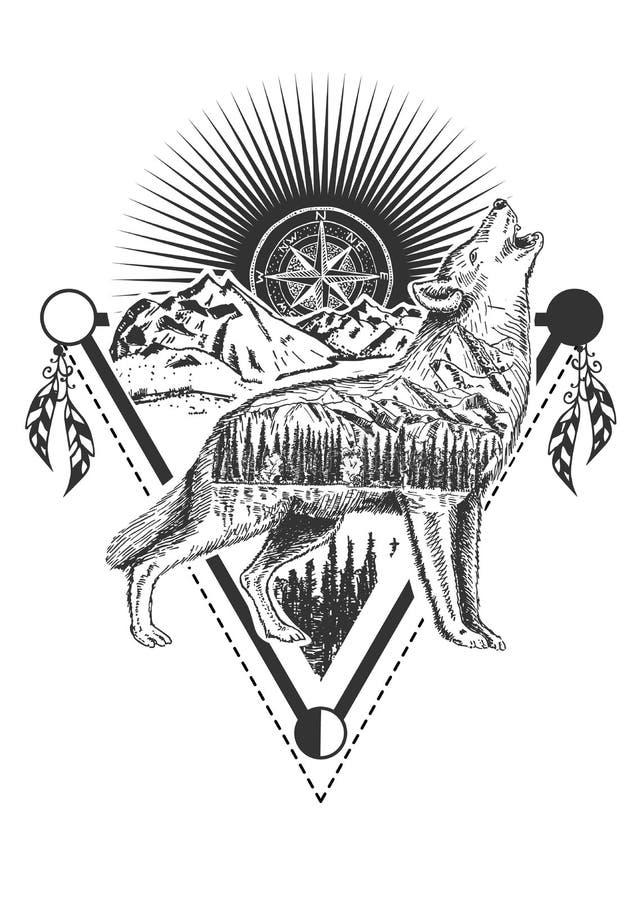Tatouage de loup d'hurlement de vecteur ou conception d'impression de T-shirt illustration de vecteur