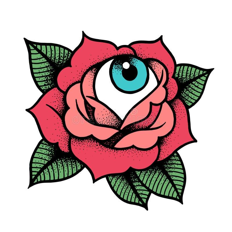 Tatouage de rose de vieille école avec l'oeil illustration libre de droits