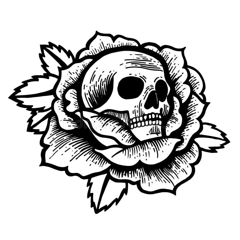 Tatouage de rose de vieille école avec le crâne photos stock