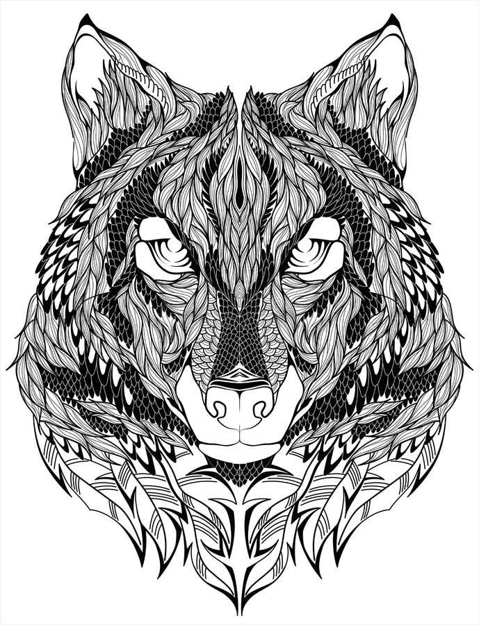 Tatouage de tête de loup Illustration de vecteur illustration de vecteur