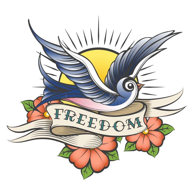 Tatouage de vieille école avec l'oiseau et la liberté de libellé illustration de vecteur