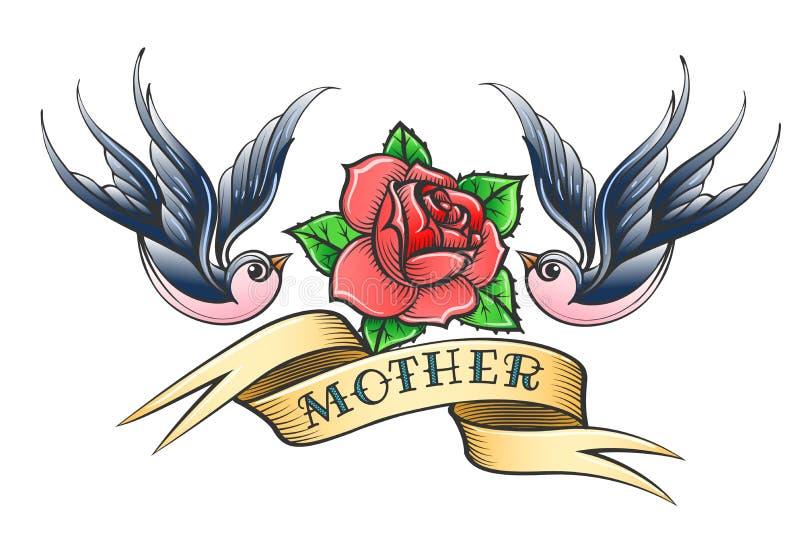 Tatouage de vieille école avec les hirondelles et la Rose Flower illustration libre de droits