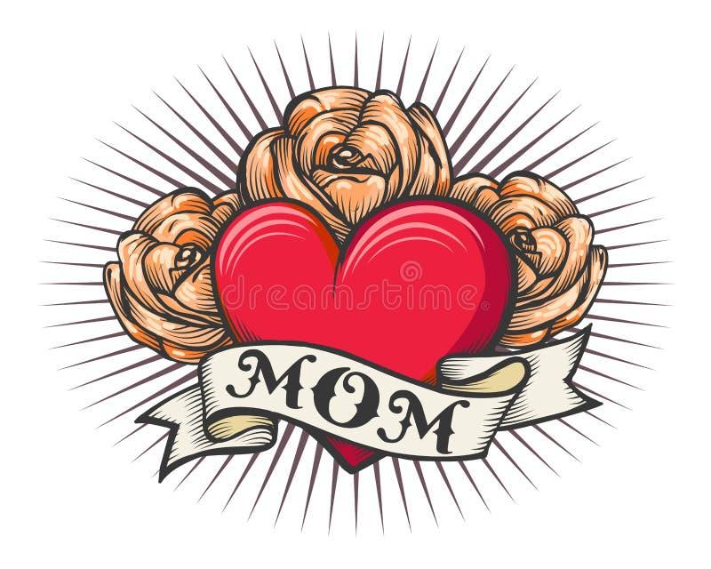 Tatouage de vieille école de coeur et de roses illustration libre de droits