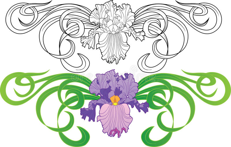 Tatouage de vignette de fleur d'iris illustration libre de droits
