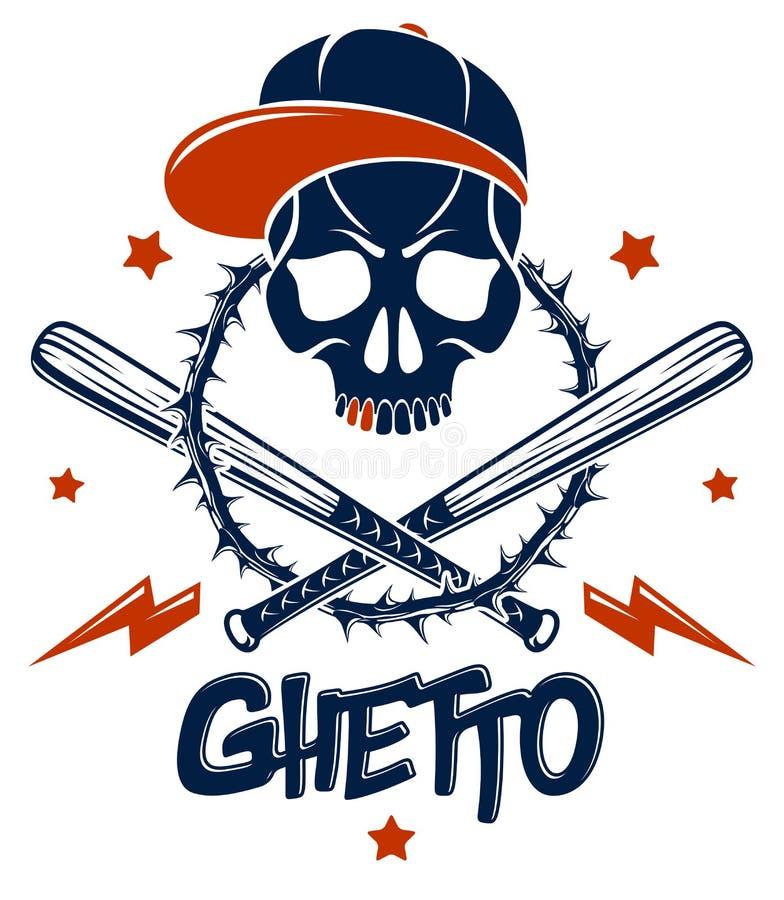 Tatouage, embl?me de bande ou logo criminel avec les battes de baseball agressives de cr?ne et d'autres armes et ?l?ments de conc illustration libre de droits