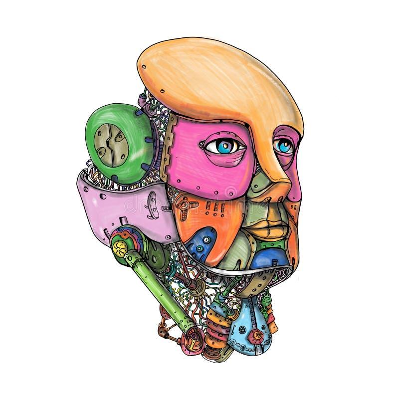 Tatouage femelle de tête de robot de humanoïde illustration de vecteur