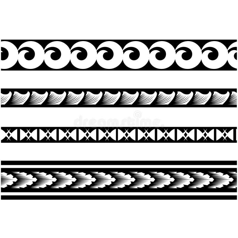 Tatouage polynésien de frontière, ornements sans couture ethniques d'encre de ruban illustration de vecteur