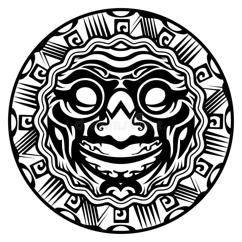 Tatouage polynésien de sourire de visage de vecteur rond illustration de vecteur