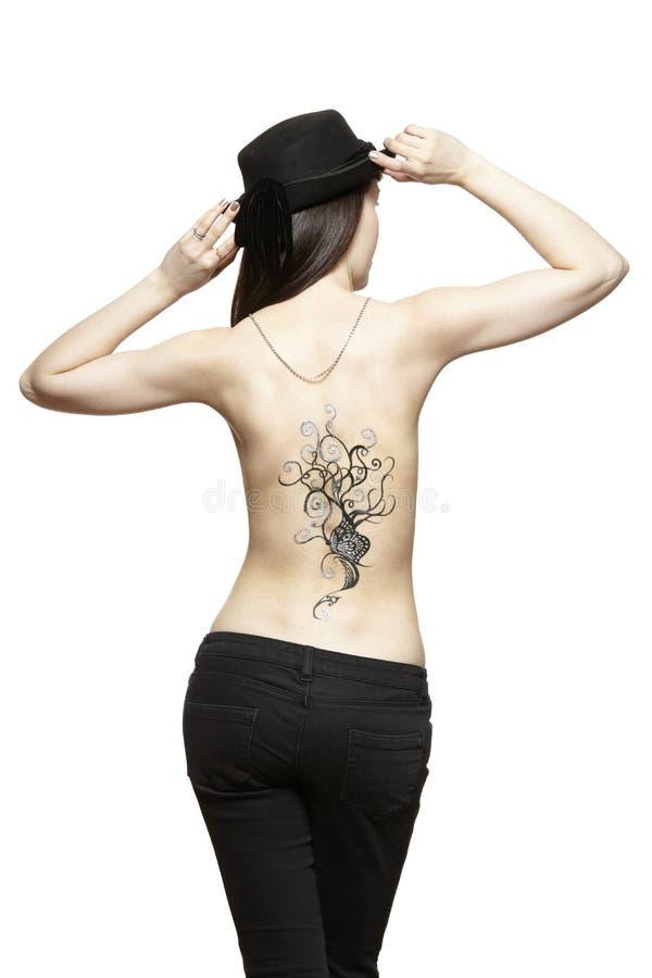 Tatouage provisoire d'art de corps sur le dos de femelle image stock