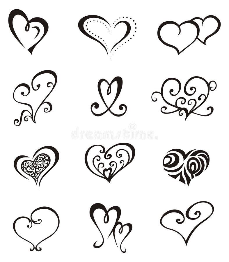 tatouage réglé par coeurs illustration stock