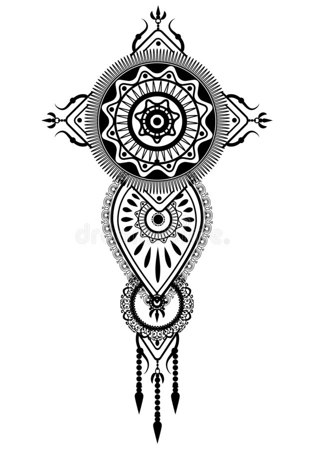 tatouage rêveur d'ornement de traditonal de receveur illustration libre de droits