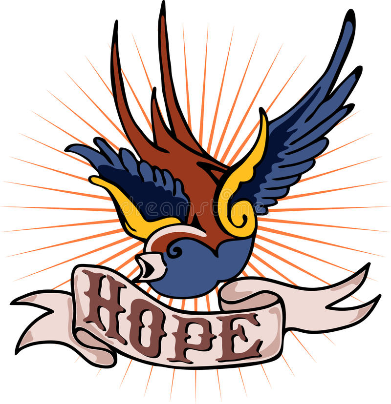 Tatouage Robin et espoir illustration stock