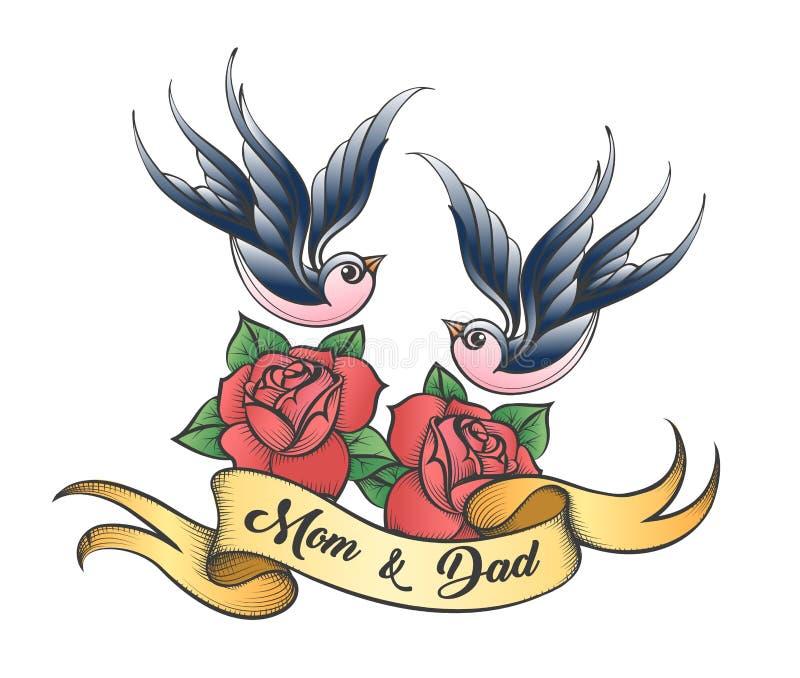 Tatouage tiré par la main avec l'inscription de la maman et du papa illustration libre de droits
