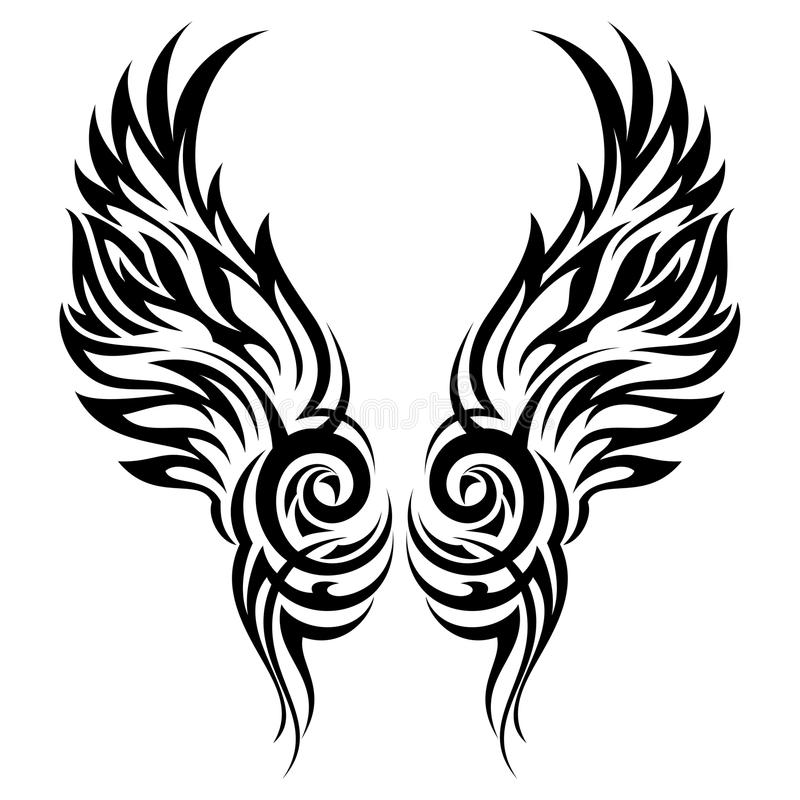 Tatouage tribal d'ailes flamboyantes illustration stock