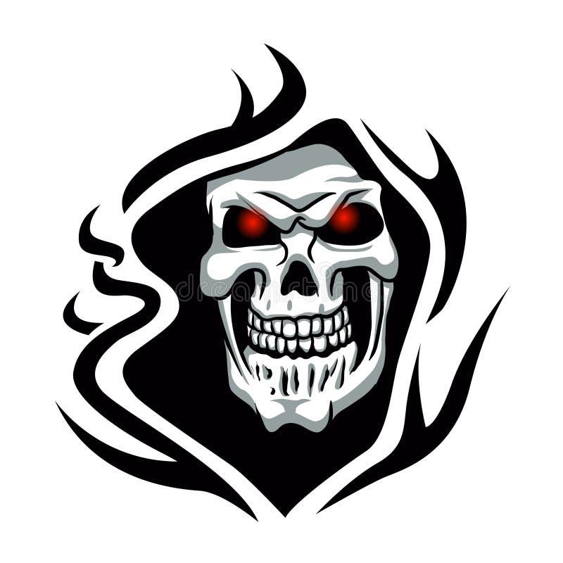 Tatouage tribal de crâne tattoode faucheuse illustration de vecteur
