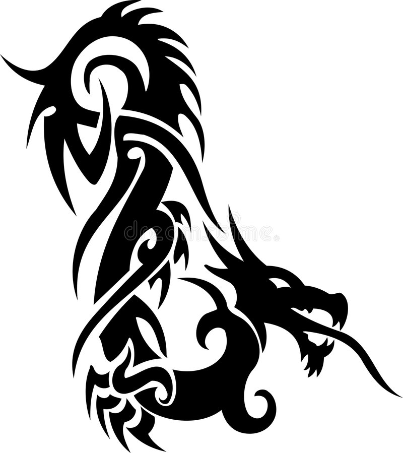 Tatouage tribal de dragon illustration de vecteur
