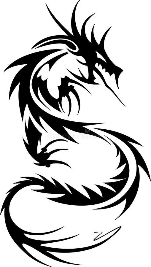 Tatouage tribal de dragon illustration de vecteur