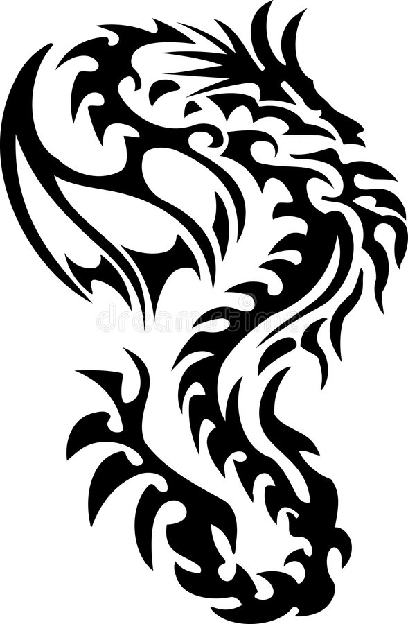 tatouage tribal de dragon illustration de vecteur. Black Bedroom Furniture Sets. Home Design Ideas