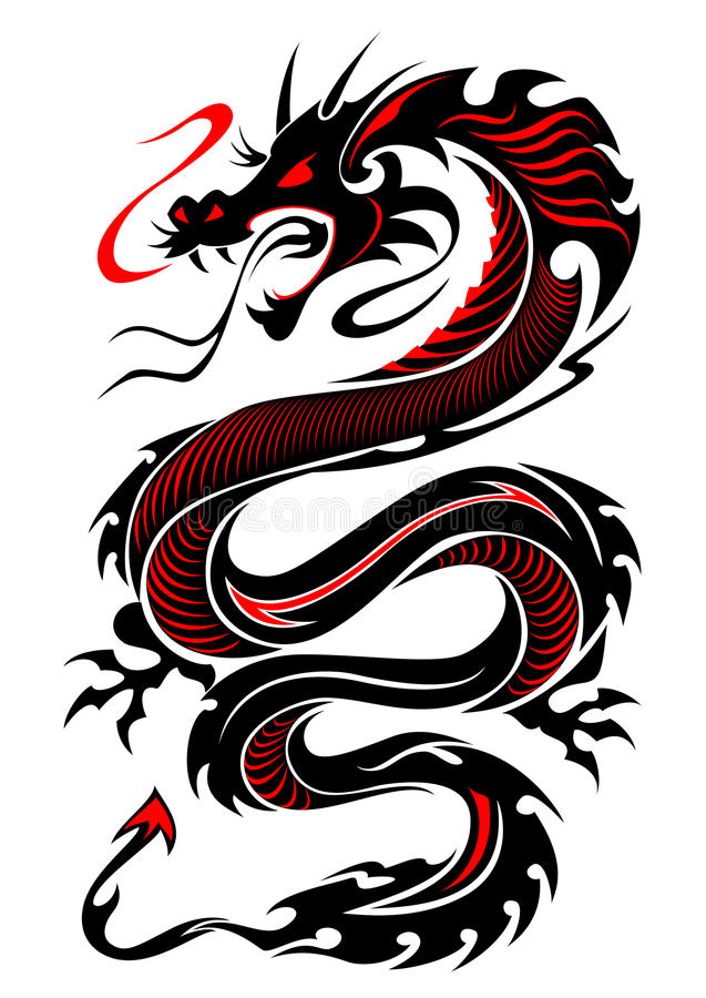 Tatouage tribal flamboyant de dragon illustration de vecteur