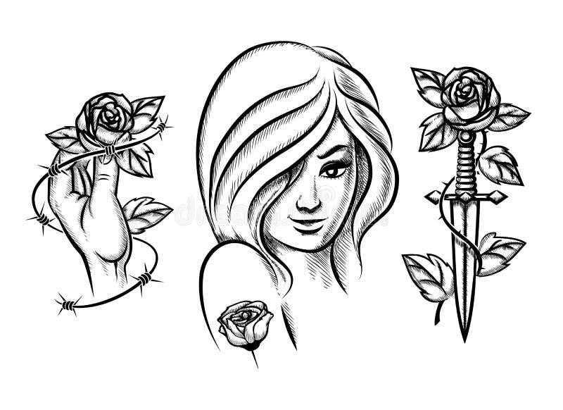 tatouages Fille de beauté, couteau, rose et barbelé illustration de vecteur