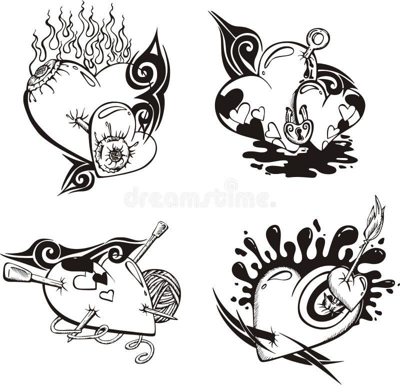 Tatouages stylisés avec des coeurs illustration stock