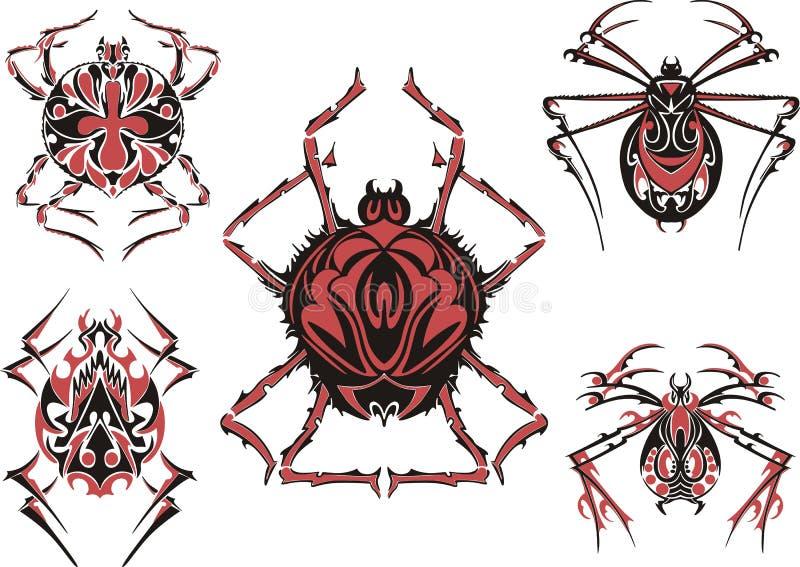 Tatouages symétriques noirs et rouges d'araignée illustration libre de droits