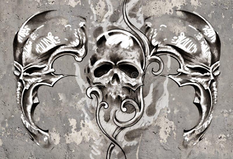 Tatouez l'art, 2 démons biomécaniques au-dessus de fond gris, croquis illustration de vecteur