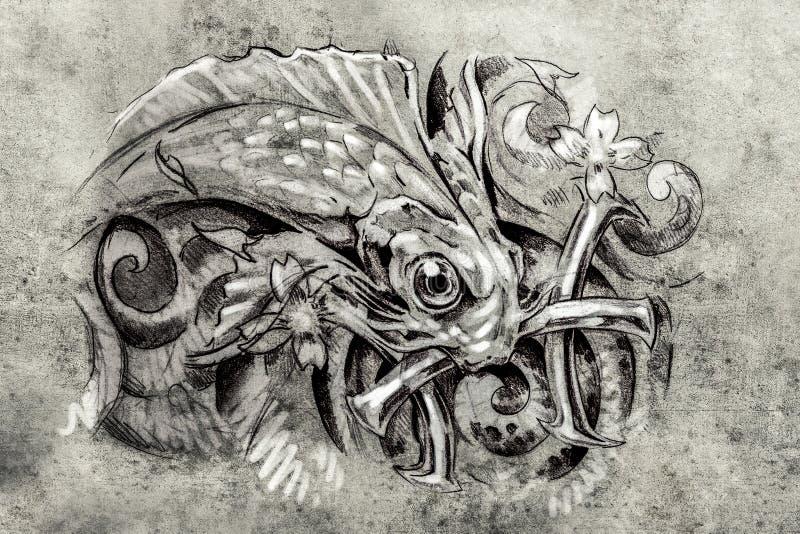 Tatouez l 39 art croquis d 39 un poisson l 39 art de tatouage - Croquis poisson ...