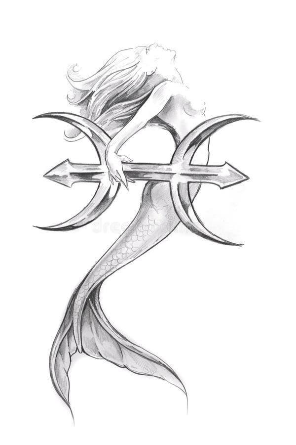 Tatouez l'art, croquis d'une sirène, Poissons illustration libre de droits