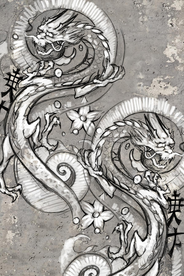 Tatouez l'illustration d'art, dragons japonais illustration libre de droits