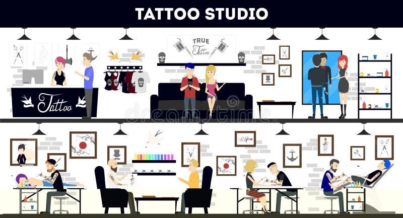 Tatouez la conception intérieure de studio, les maîtres de tatouage et les clients illustration stock