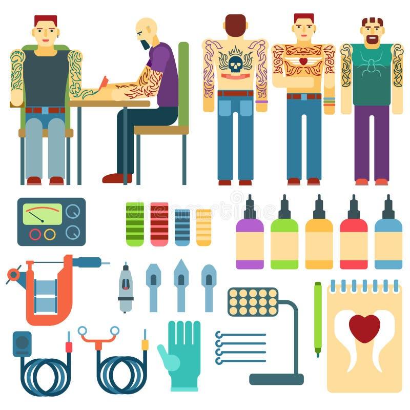 Tatouez le kit et l'équipement, ensemble de vecteur d'outils d'icônes d'art d'encre de studio de personnes illustration de vecteur