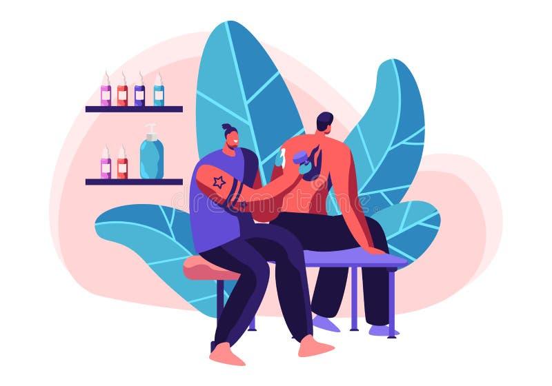 Tatouez le maître font l'image d'encre pour équiper dans le salon Tatoueur professionnel Hold Machine à disposition au travail Si illustration stock