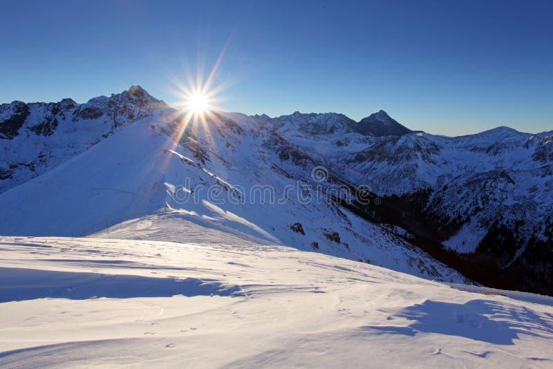 Tatra berg i vinter hög bergvinter royaltyfri foto