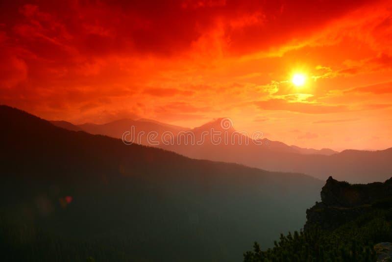 Tatra Gebirgssonnenuntergang stockbild