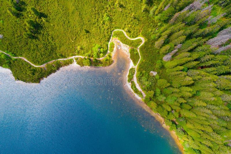 Tatra Mountains湖鸟瞰图  免版税库存图片