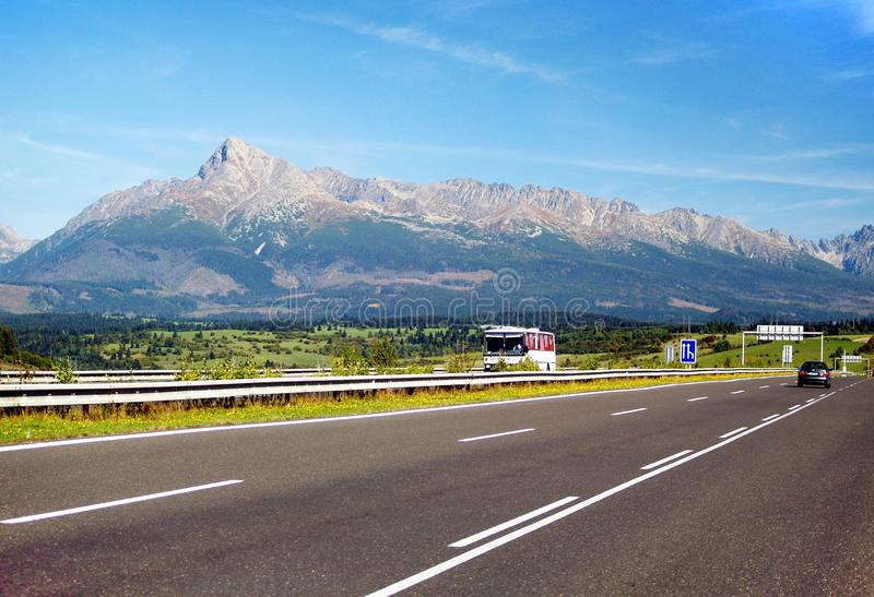 The Tatra Mountains and Highway royalty free stock images