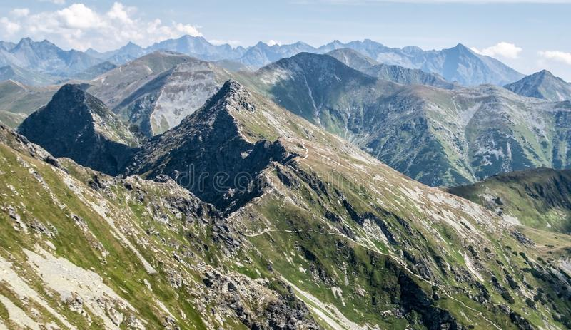 Tatra mountains panorama from Banikov peak in Western Tatras mountains in Slovakia royalty free stock photos