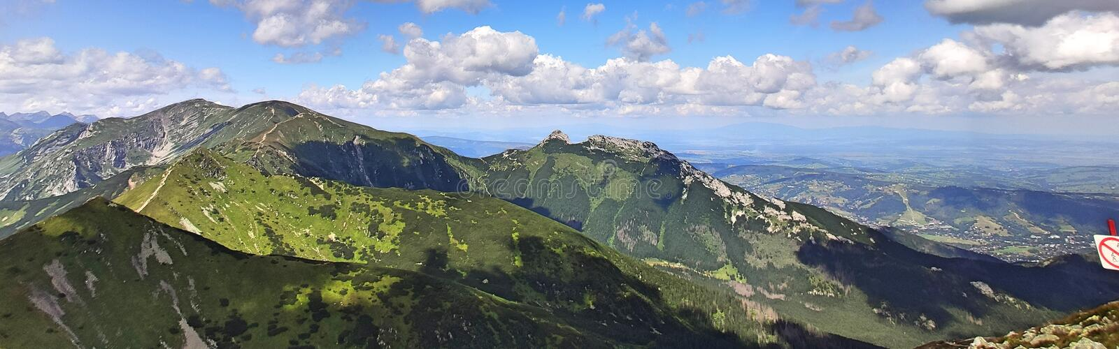 Tatra mountains. Panoramic View from the top of Kasprowy Wierch mount. Tatry, Poland stock image