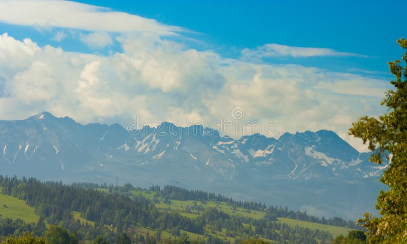 Tatra Mountains peaks. In sunny day stock photography