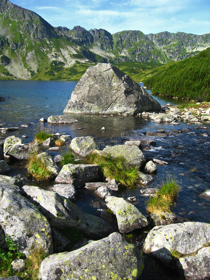 Tatra mountains in Poland, green hill, valley and rocky peak in the sunny day with clear blue sky royalty free stock photos
