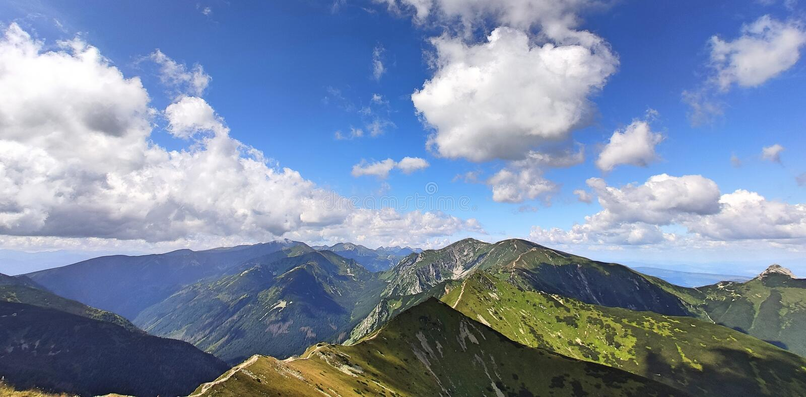 Tatra mountains. View from the top of Kasprowy Wierch mount. Tatry, Poland royalty free stock image