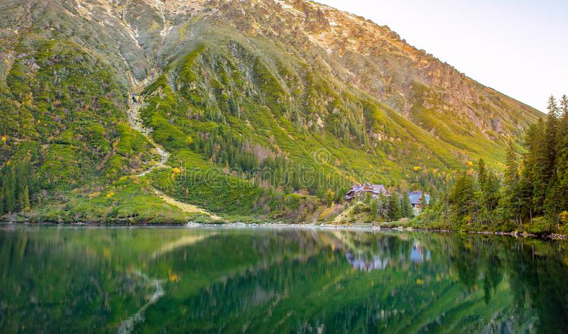 Guest house for tourists on the lake, hiking, Poland. Tatra National Park, guest house for tourists on the lake, hiking, Poland royalty free stock image