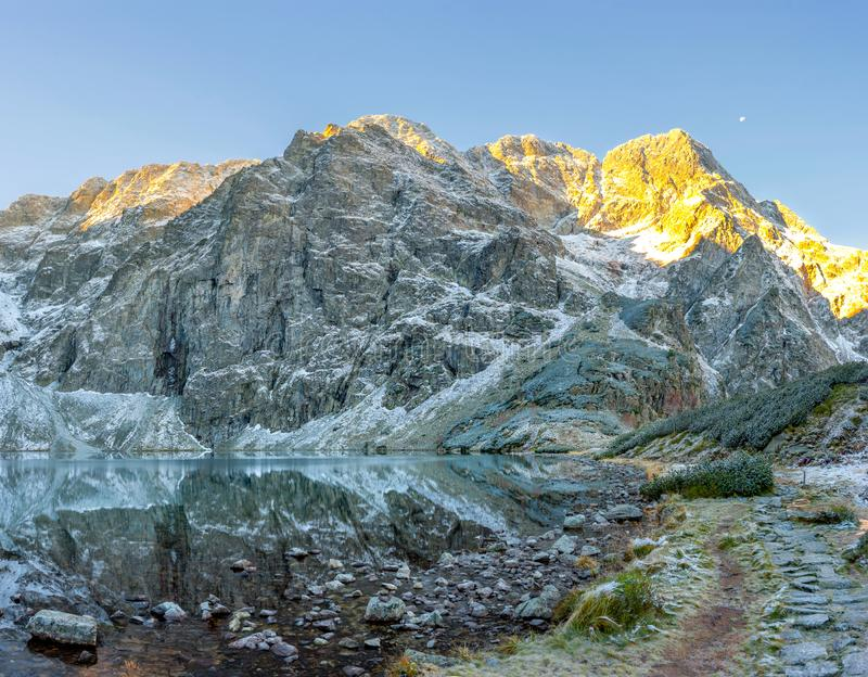 Tatra National Park, a lake in the mountains at the dawn of the sun. Poland stock images