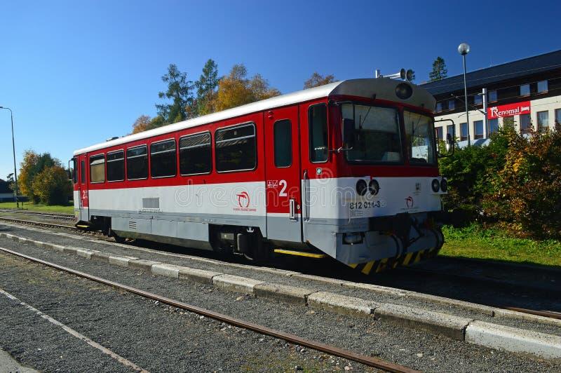 Tatra Railway Train at Tatranská Lomnica Slovakia stock photo