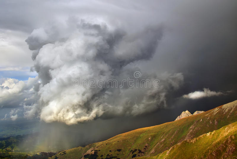 Tatra storm. Big stormy cloud over Giewont in Tatra mountains, Poland royalty free stock photo