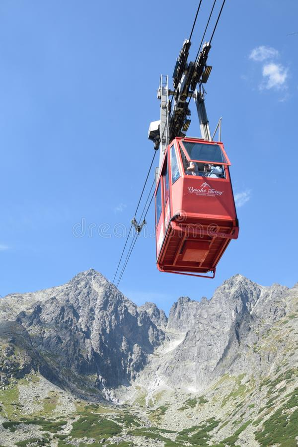 Tatranska lomnica cable car with mountain in background stock image