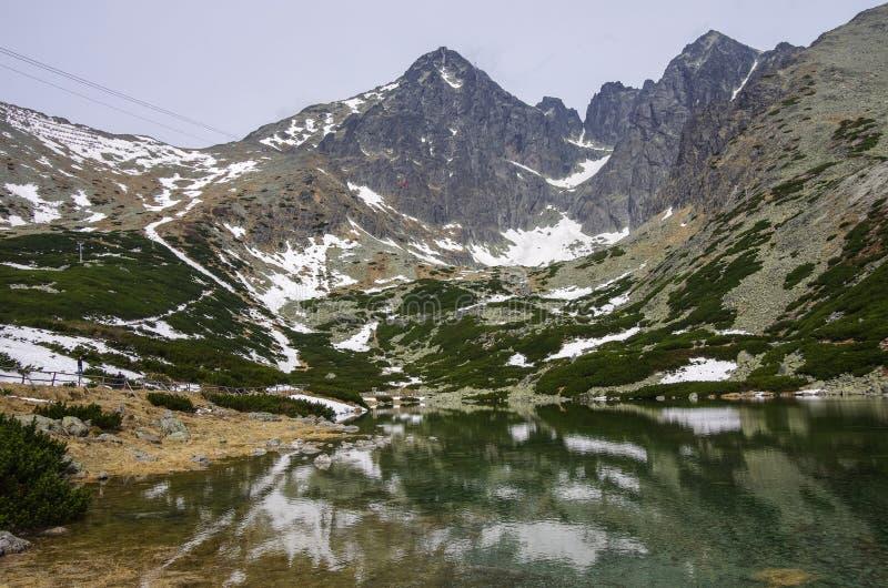 Tatras alto - o pico e Kezmarsky de Lomnicky repicam do ple de Skalnate fotos de stock royalty free
