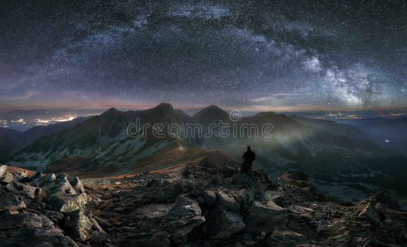 Tatras mountain panorama at night with milky way, Slovakia from peak Hruba Kopa in Rohace.  stock images